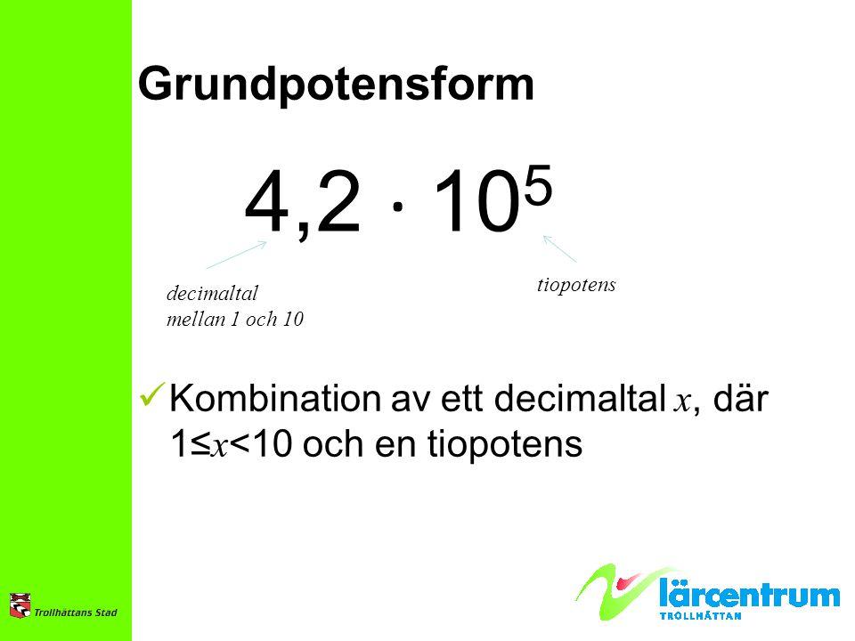 Grundpotensform 4,2 ∙ 105. tiopotens. decimaltal.