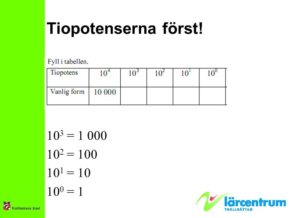 Tiopotenserna först! 103 = 1 000 102 = 100 101 = 10 100 = 1