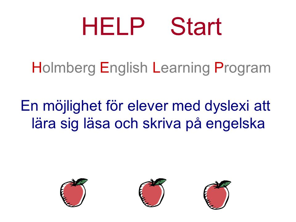 HELP Start Holmberg English Learning Program