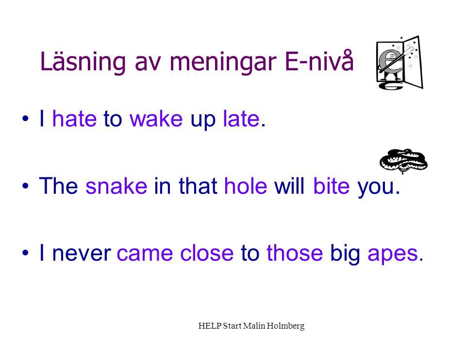 Läsning av meningar E-nivå