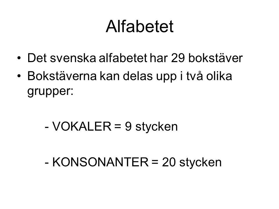 Alfabetet Det svenska alfabetet har 29 bokstäver