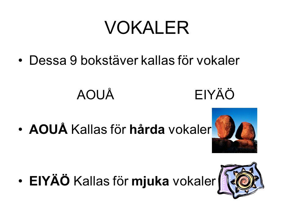 VOKALER Dessa 9 bokstäver kallas för vokaler AOUÅ EIYÄÖ