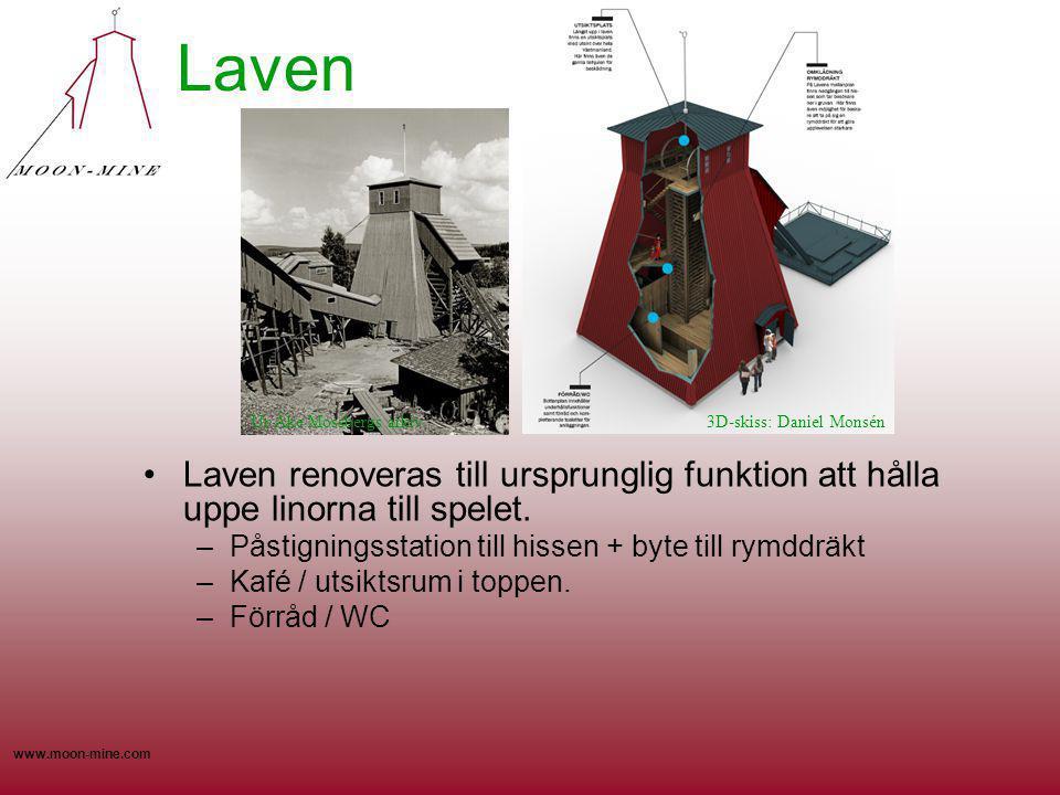 Laven Ur Åke Mossbergs arkiv. 3D-skiss: Daniel Monsén. Laven renoveras till ursprunglig funktion att hålla uppe linorna till spelet.