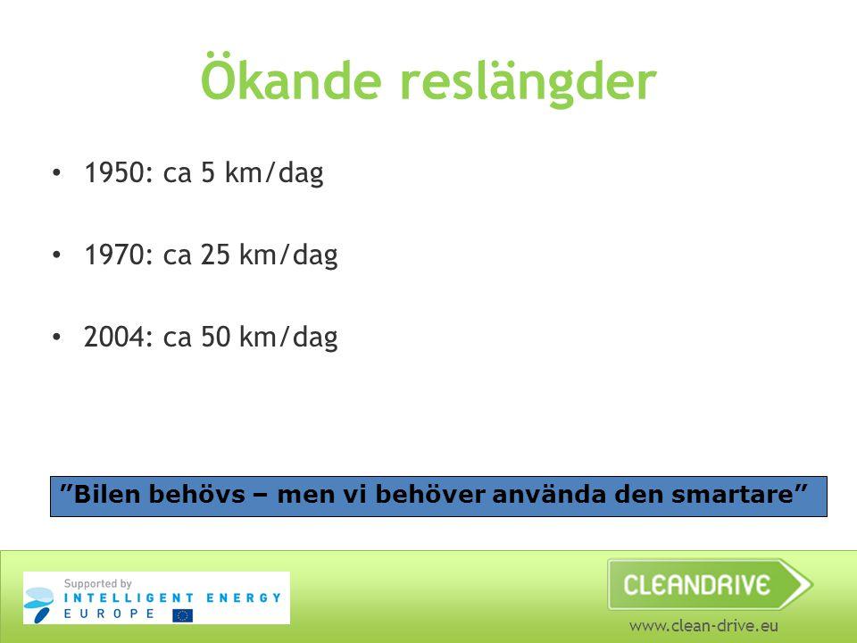Ökande reslängder 1950: ca 5 km/dag 1970: ca 25 km/dag