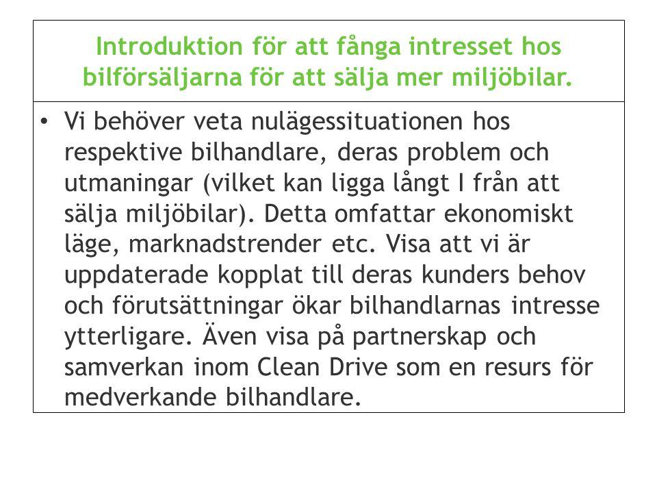 Introduktion för att fånga intresset hos bilförsäljarna för att sälja mer miljöbilar.