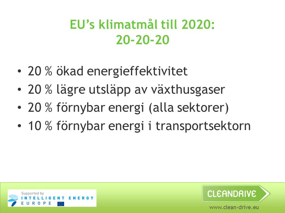EU's klimatmål till 2020: 20-20-20