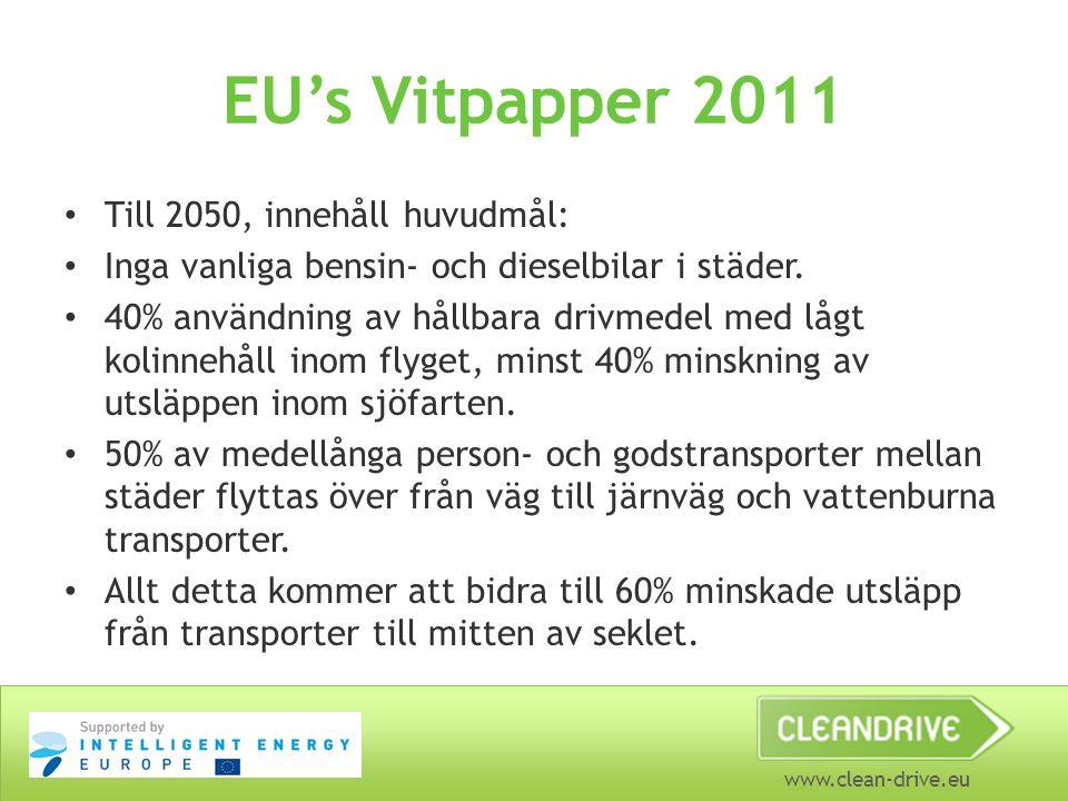 EU's Vitpapper 2011 Till 2050, innehåll huvudmål: