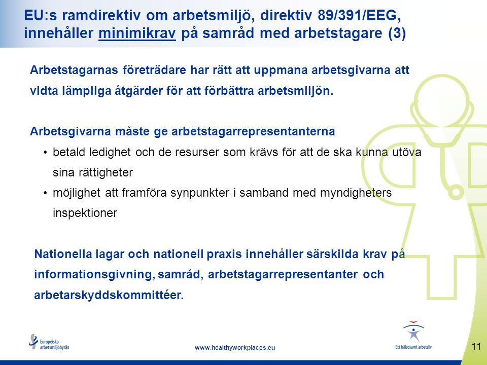 EU:s ramdirektiv om arbetsmiljö, direktiv 89/391/EEG, innehåller minimikrav på samråd med arbetstagare (3)