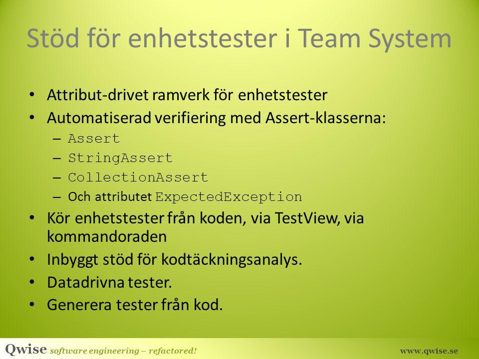 Stöd för enhetstester i Team System