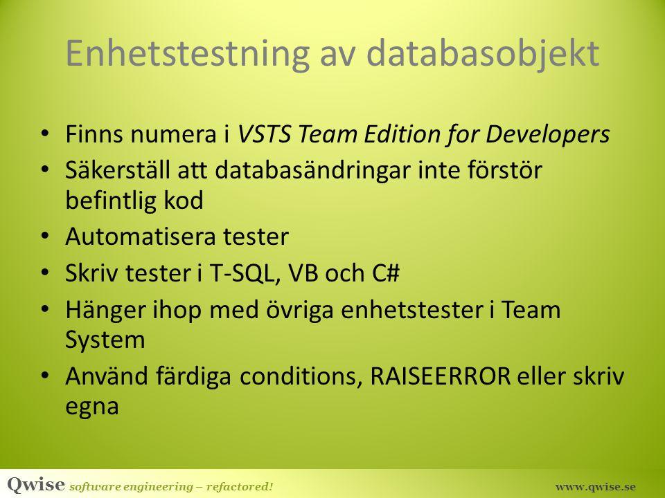 Enhetstestning av databasobjekt