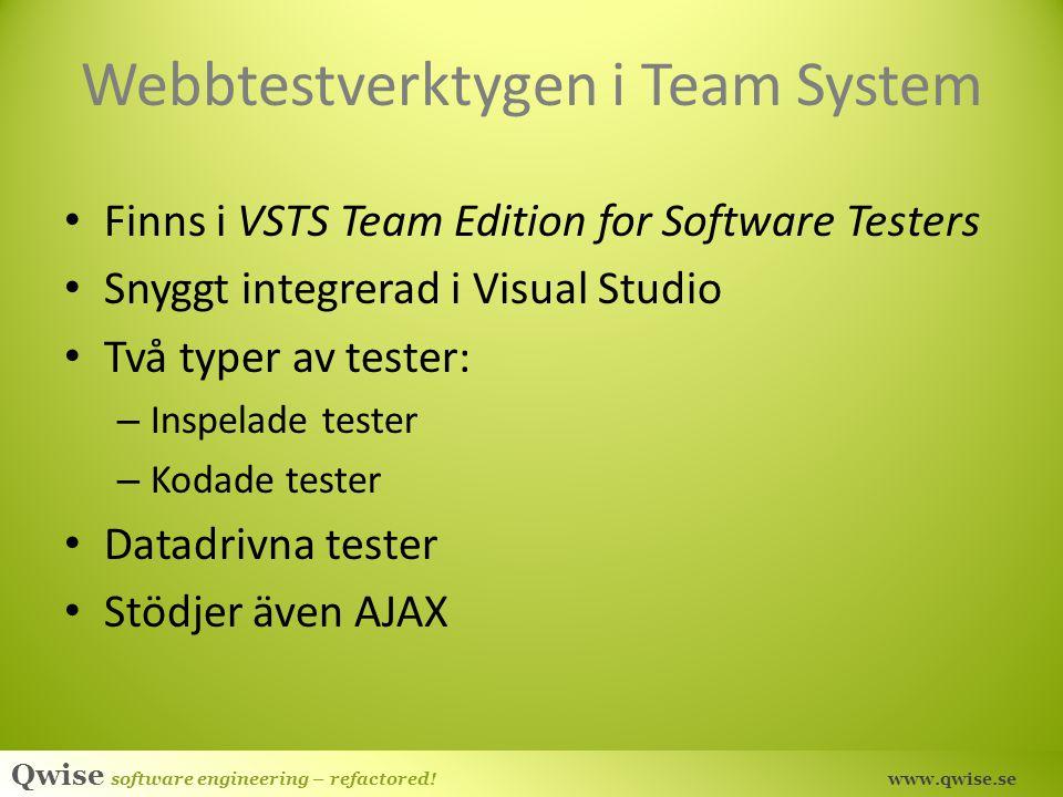 Webbtestverktygen i Team System