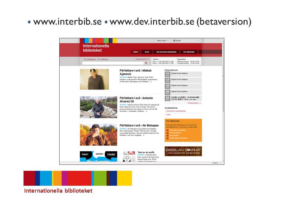 www.interbib.se www.dev.interbib.se (betaversion)