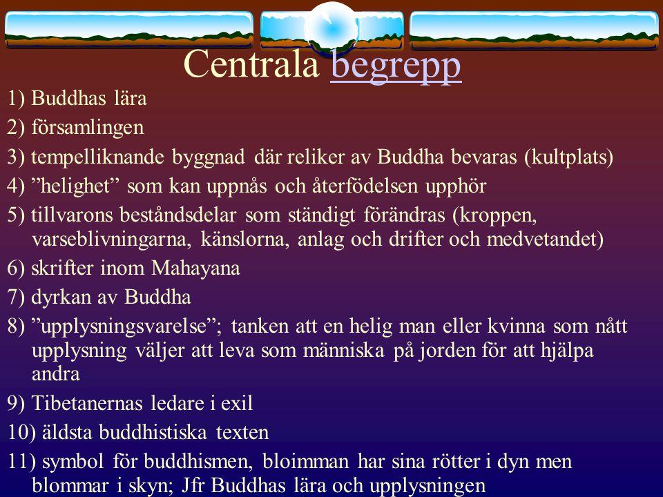 Centrala begrepp 1) Buddhas lära 2) församlingen