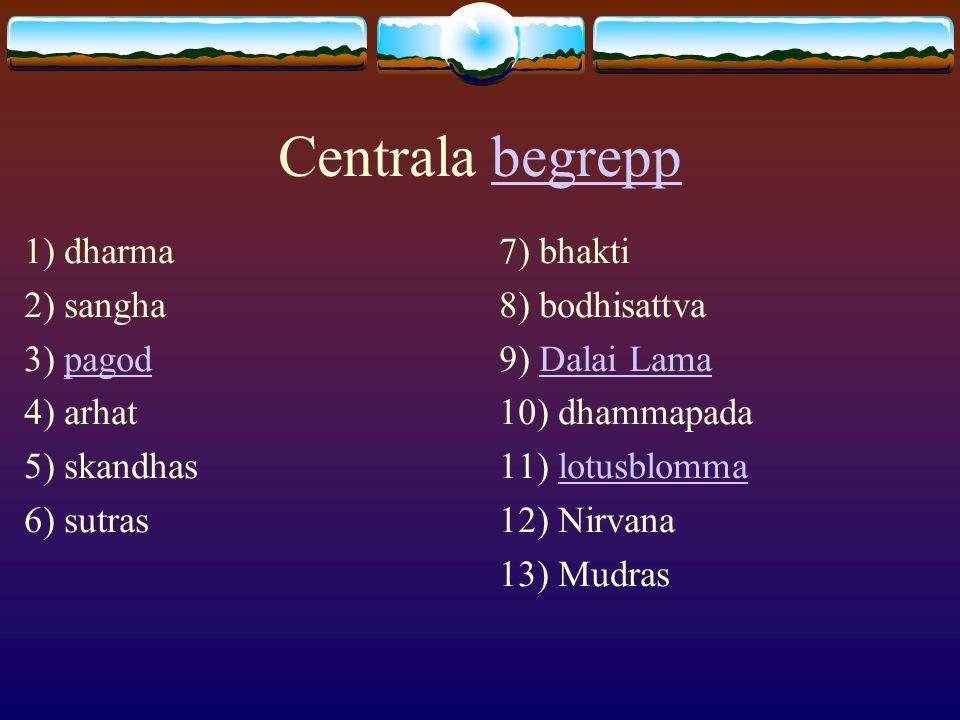 Centrala begrepp 1) dharma 2) sangha 3) pagod 4) arhat 5) skandhas
