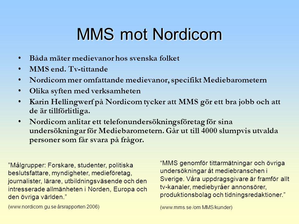 MMS mot Nordicom Båda mäter medievanor hos svenska folket