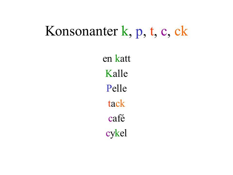 Konsonanter k, p, t, c, ck en katt Kalle Pelle tack café cykel