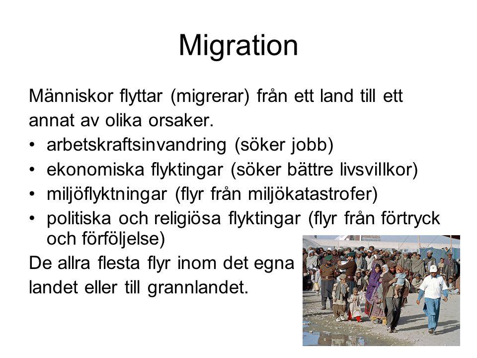Migration Människor flyttar (migrerar) från ett land till ett