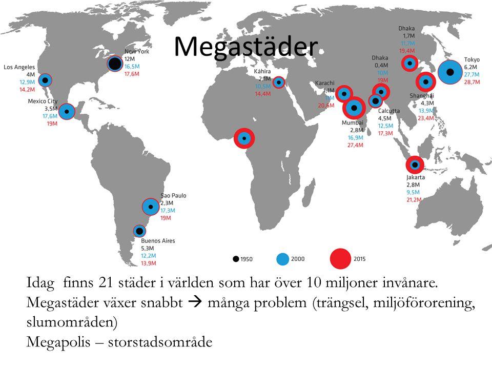 Megastäder Idag finns 21 städer i världen som har över 10 miljoner invånare.