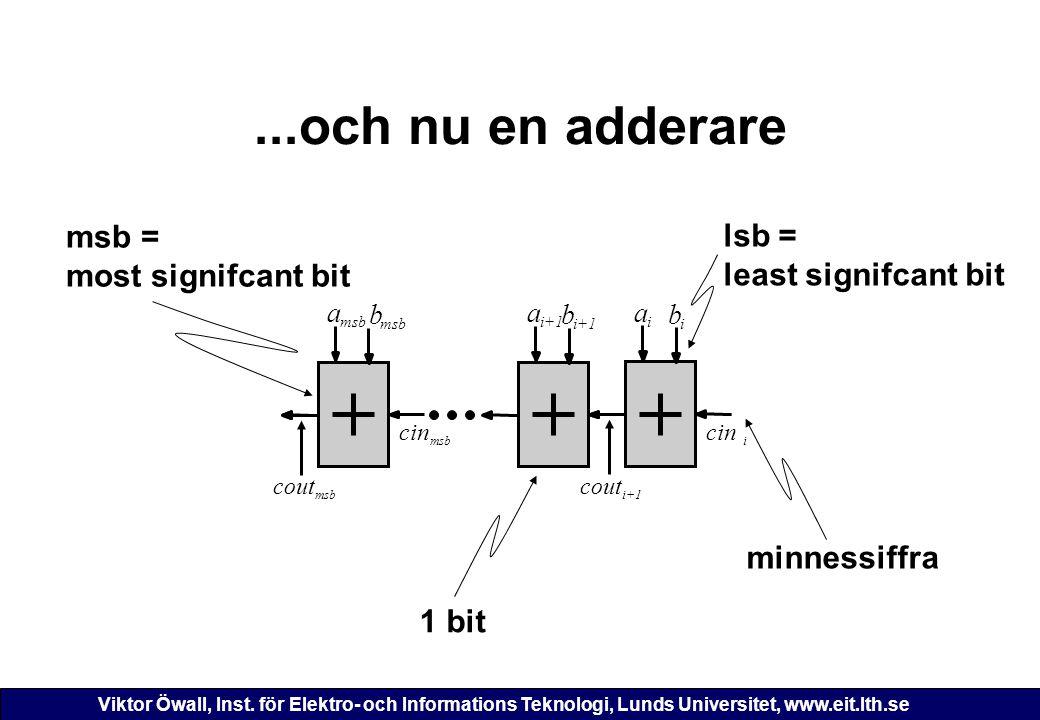 ...och nu en adderare msb = lsb = most signifcant bit