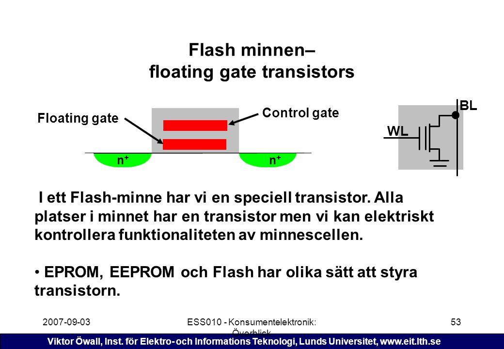 Flash minnen– floating gate transistors