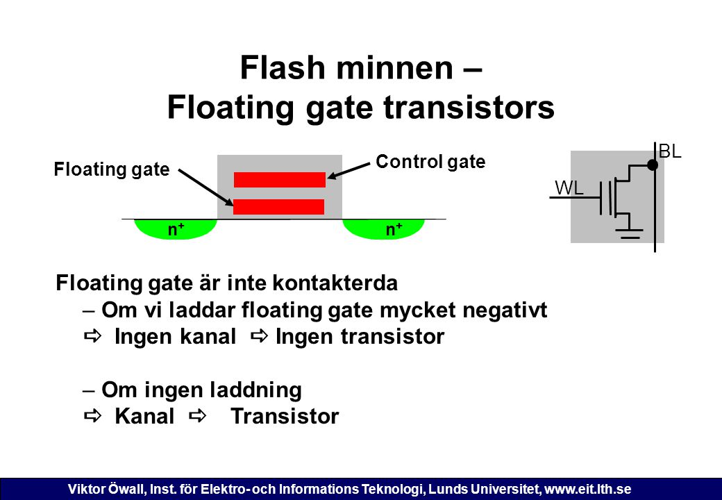 Flash minnen – Floating gate transistors
