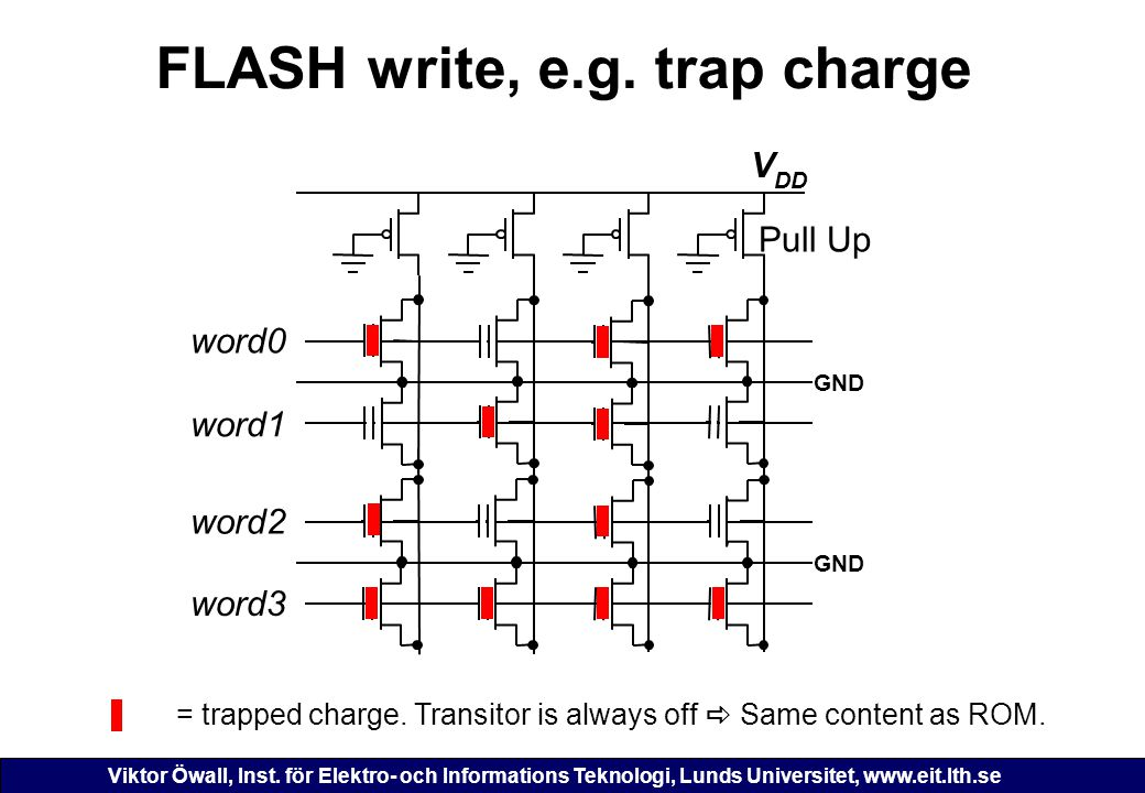 FLASH write, e.g. trap charge