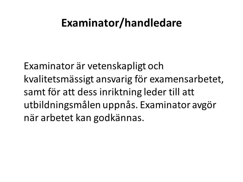 Examinator/handledare
