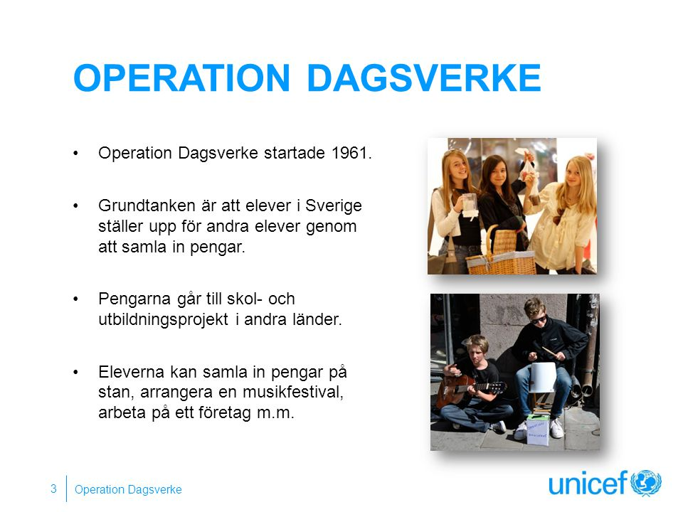 Operation dagsverke Operation Dagsverke startade 1961.