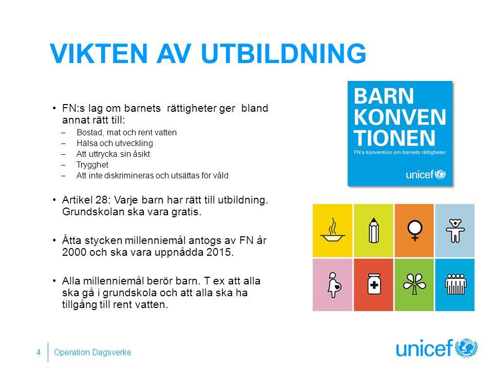 VIKTEN AV UTBILDNING FN:s lag om barnets rättigheter ger bland annat rätt till: Bostad, mat och rent vatten.