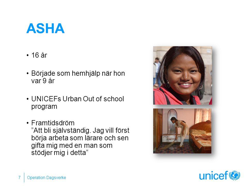ASHA 16 år Började som hemhjälp när hon var 9 år