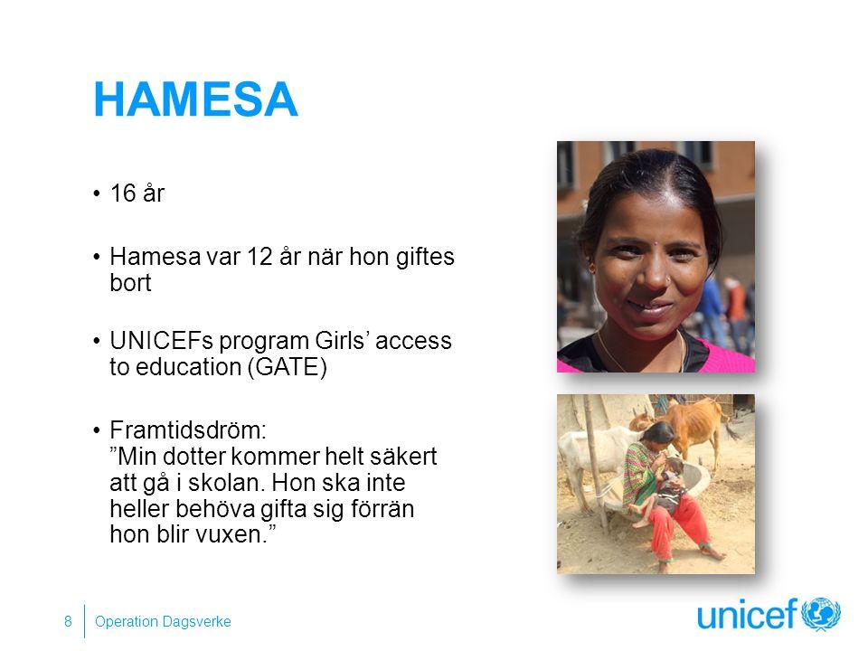 HAMESA 16 år Hamesa var 12 år när hon giftes bort