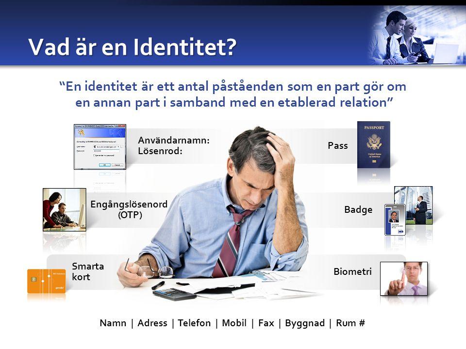 4/5/2017 8:25 PM Vad är en Identitet En identitet är ett antal påståenden som en part gör om. en annan part i samband med en etablerad relation