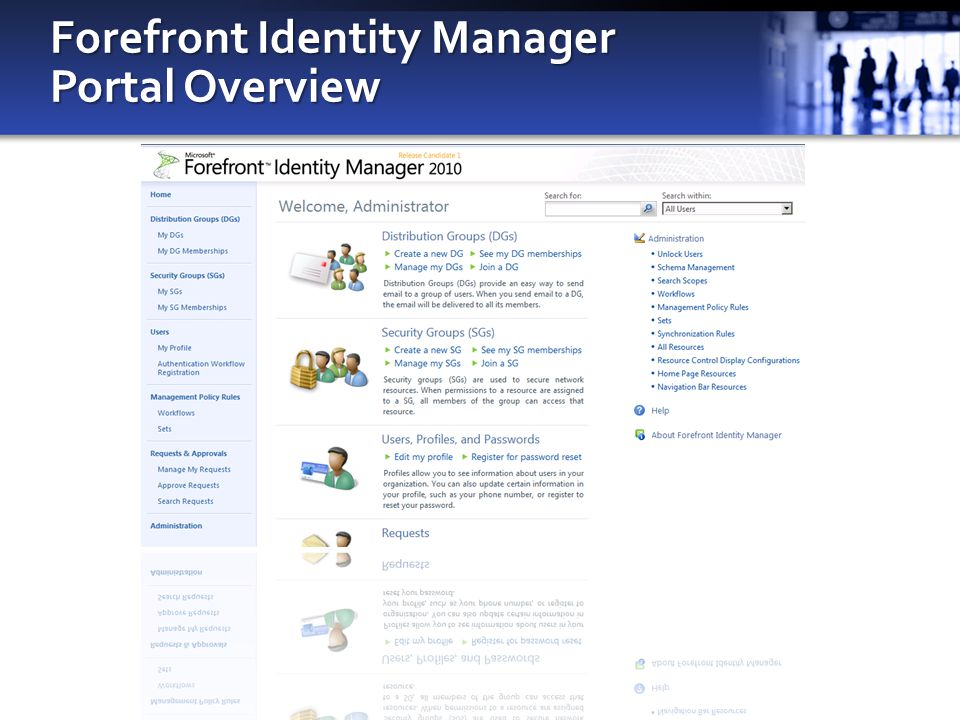 Forefront Identity Manager Portal Overview