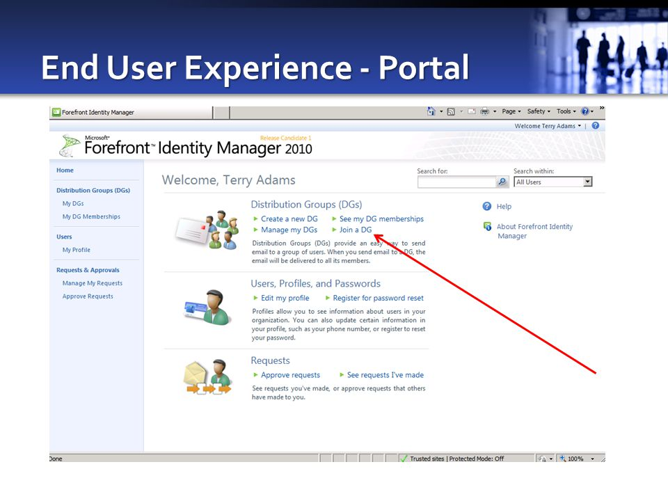 End User Experience - Portal