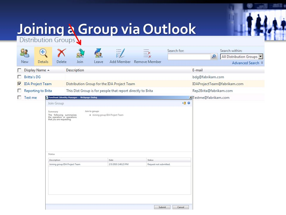 Joining a Group via Outlook
