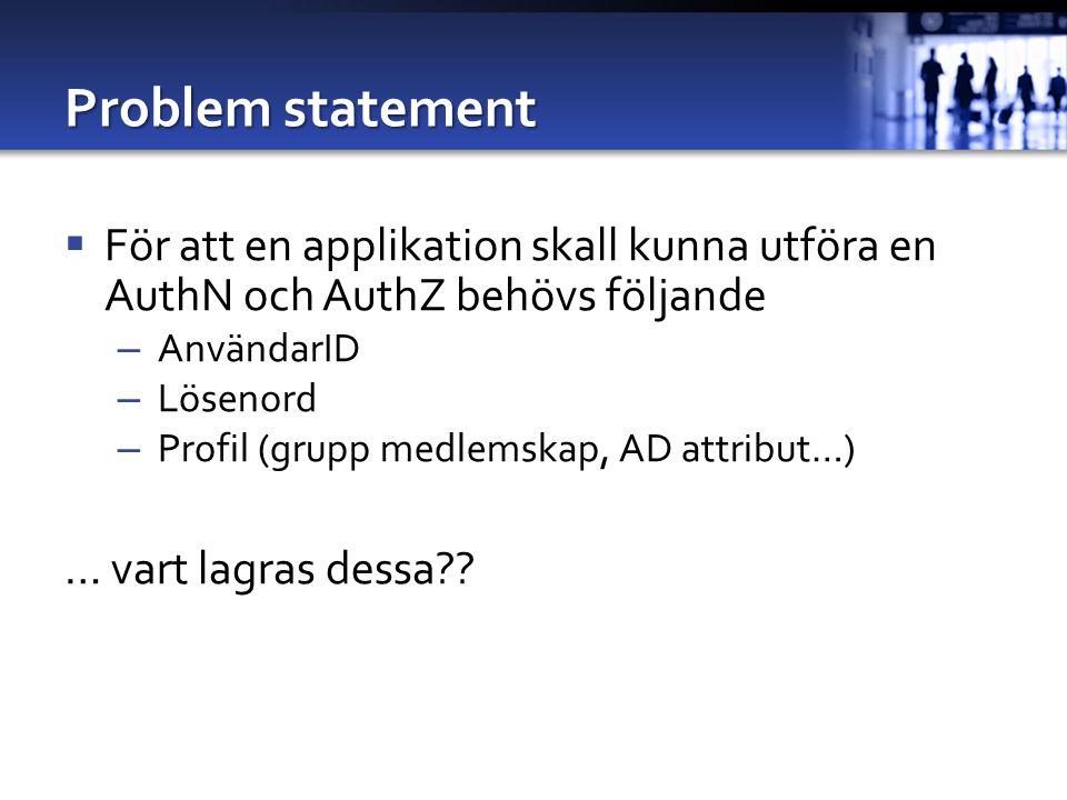 Problem statement För att en applikation skall kunna utföra en AuthN och AuthZ behövs följande. AnvändarID.
