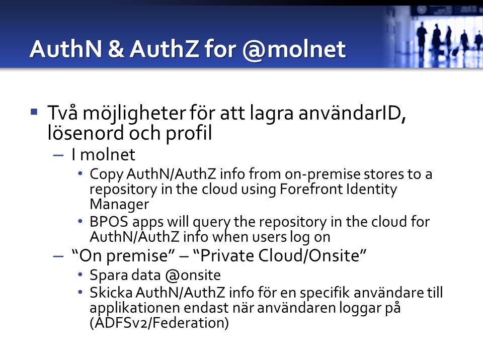 AuthN & AuthZ for @molnet
