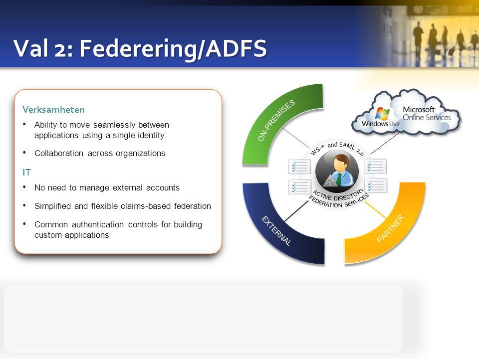 Val 2: Federering/ADFS Verksamheten IT