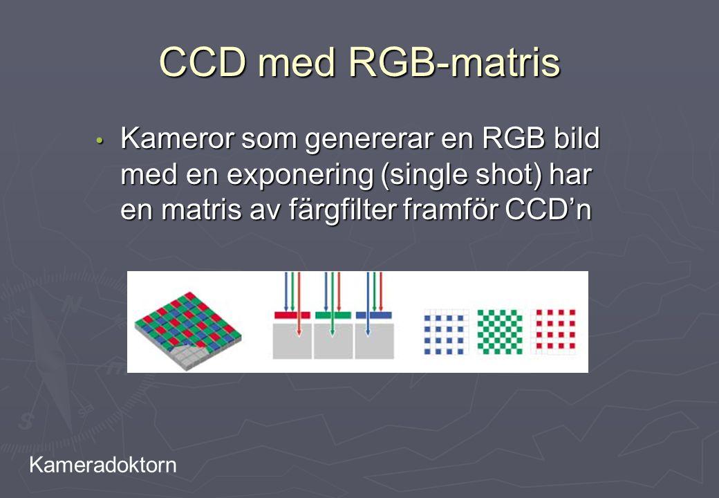 CCD med RGB-matris Kameror som genererar en RGB bild med en exponering (single shot) har en matris av färgfilter framför CCD'n.