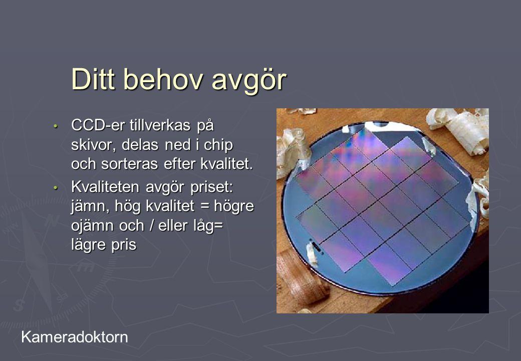 Ditt behov avgör CCD-er tillverkas på skivor, delas ned i chip och sorteras efter kvalitet.