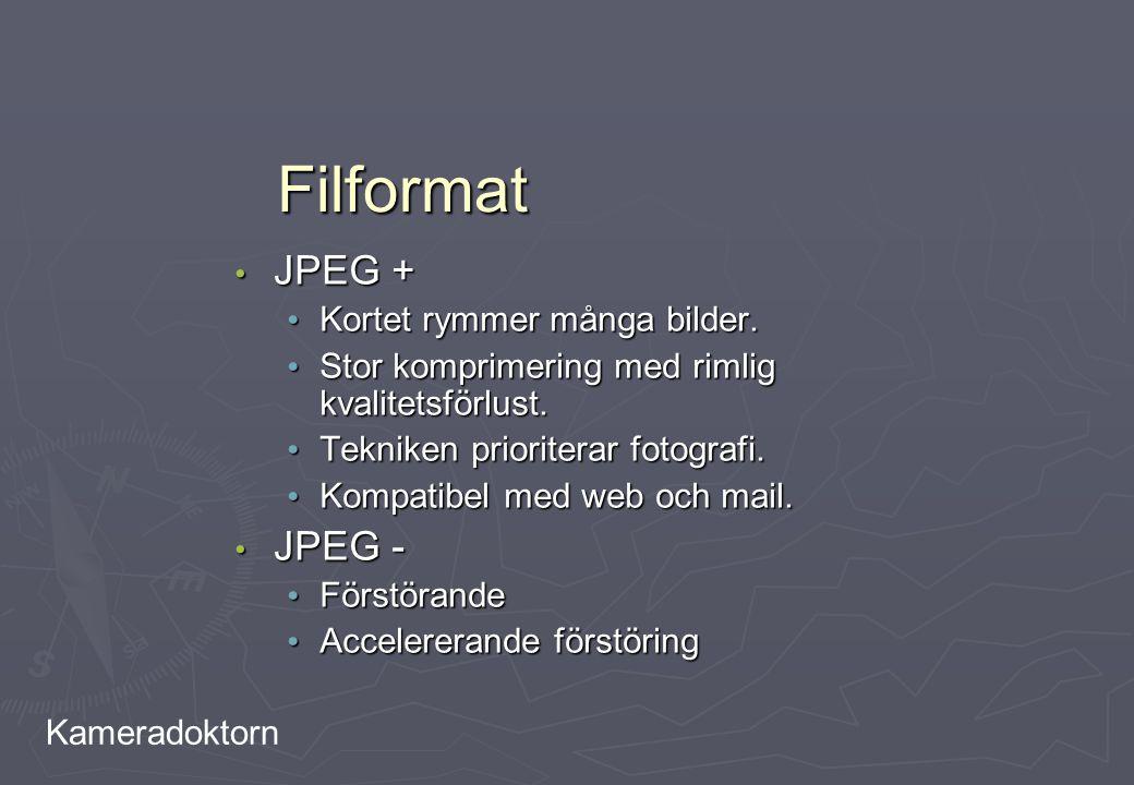 Filformat JPEG + JPEG - Kortet rymmer många bilder.
