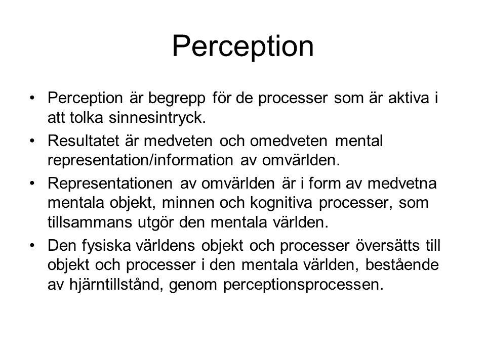 Perception Perception är begrepp för de processer som är aktiva i att tolka sinnesintryck.