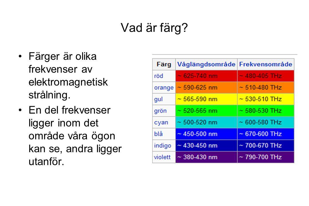 Vad är färg Färger är olika frekvenser av elektromagnetisk strålning.