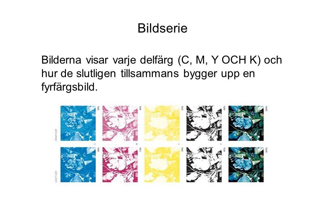 Bildserie Bilderna visar varje delfärg (C, M, Y OCH K) och hur de slutligen tillsammans bygger upp en fyrfärgsbild.