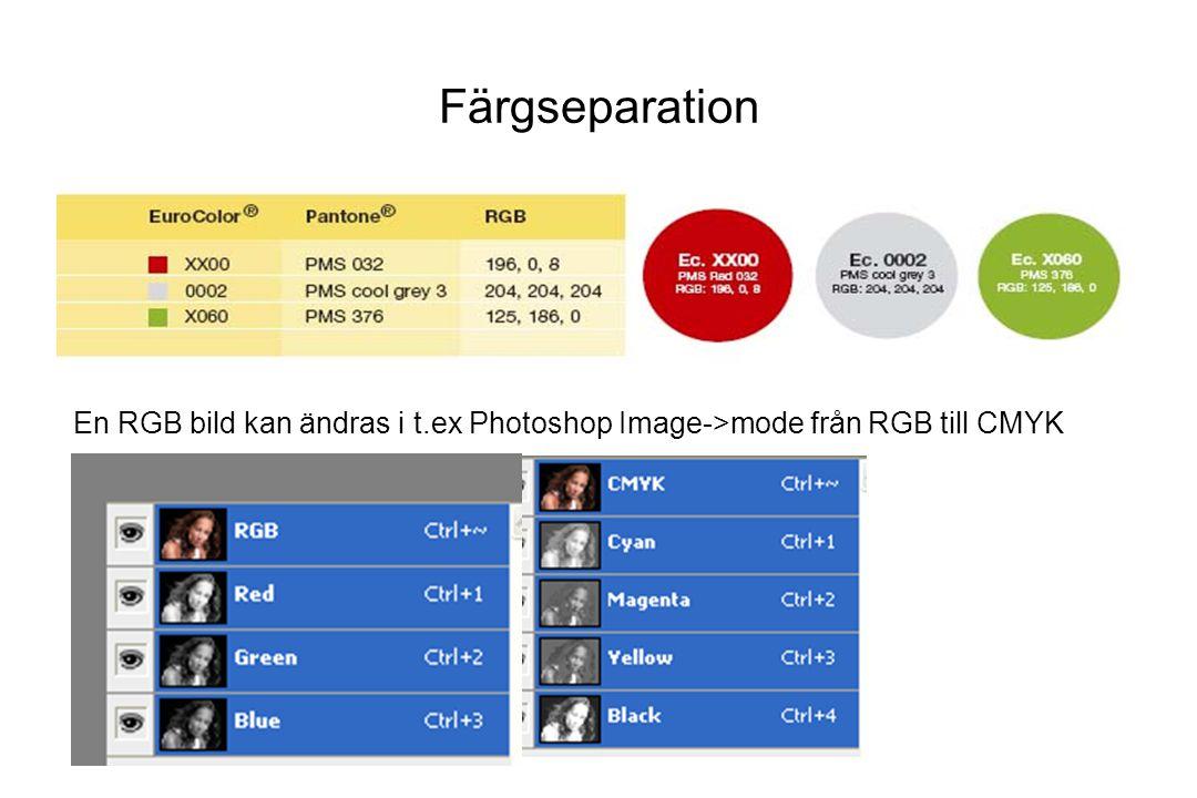 Färgseparation En RGB bild kan ändras i t.ex Photoshop Image->mode från RGB till CMYK
