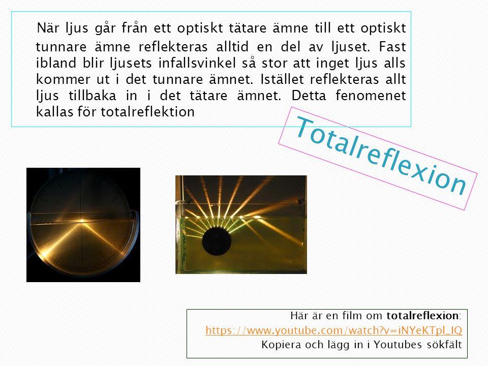 När ljus går från ett optiskt tätare ämne till ett optiskt tunnare ämne reflekteras alltid en del av ljuset. Fast ibland blir ljusets infallsvinkel så stor att inget ljus alls kommer ut i det tunnare ämnet. Istället reflekteras allt ljus tillbaka in i det tätare ämnet. Detta fenomenet kallas för totalreflektion