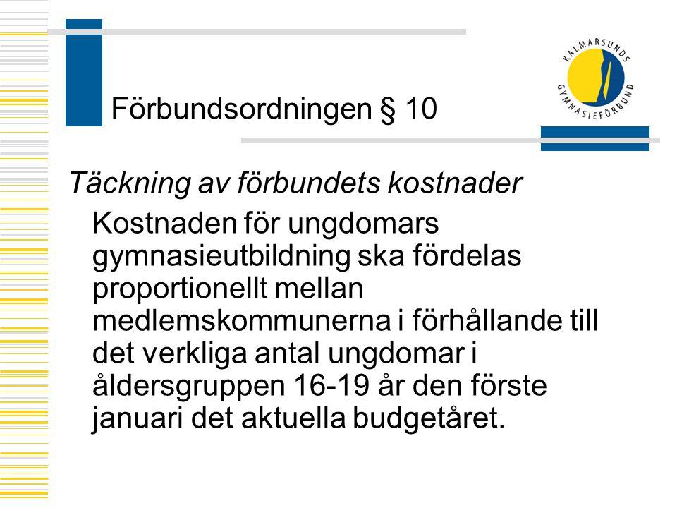 Förbundsordningen § 10 Täckning av förbundets kostnader.