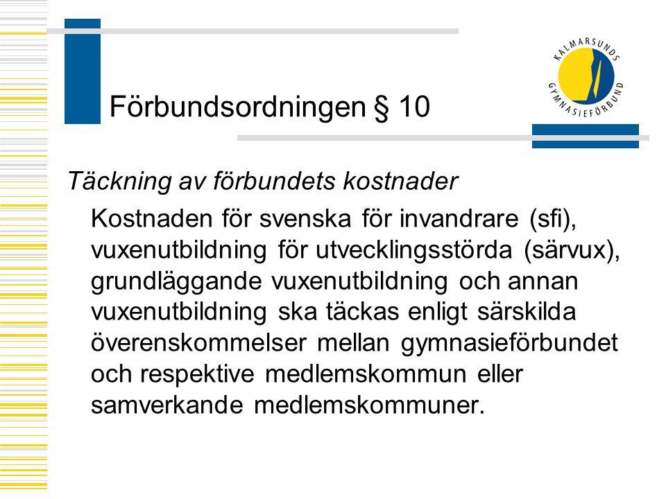 Förbundsordningen § 10 Täckning av förbundets kostnader
