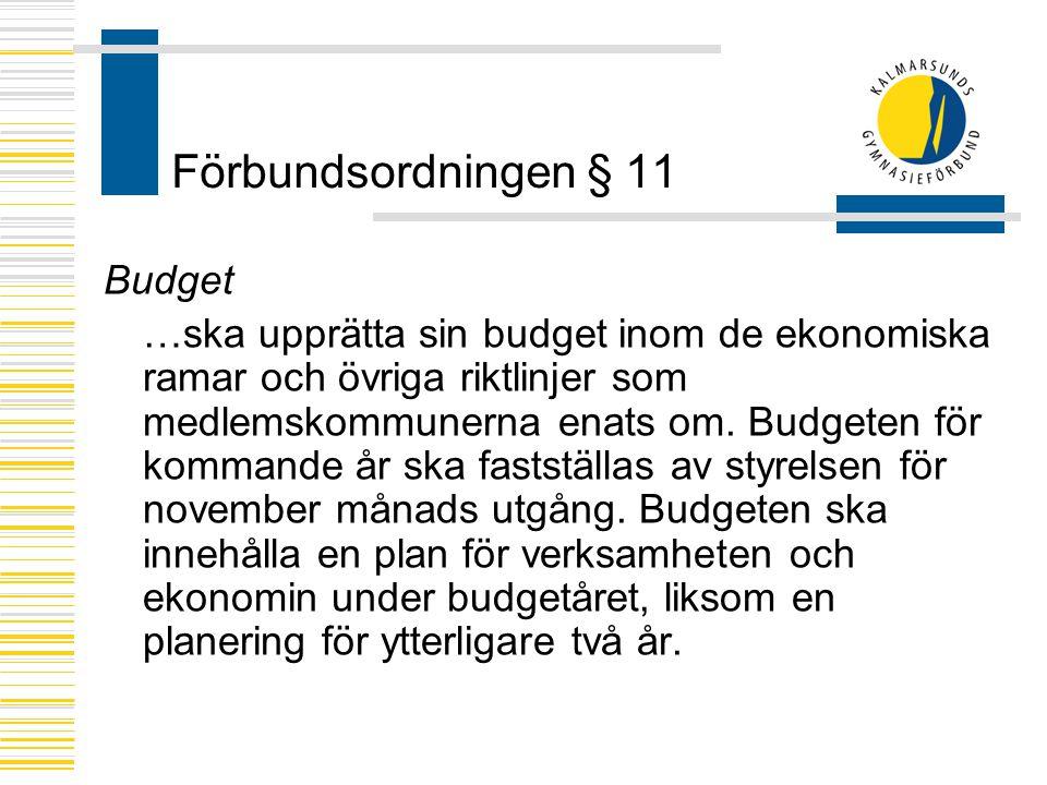 Förbundsordningen § 11 Budget