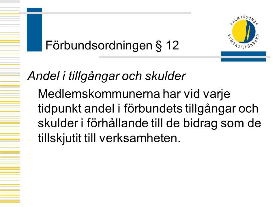 Förbundsordningen § 12 Andel i tillgångar och skulder.